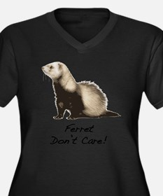 Ferret Don't Care! Women's Plus Size V-Neck Dark T