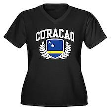 Curacao Women's Plus Size V-Neck Dark T-Shirt