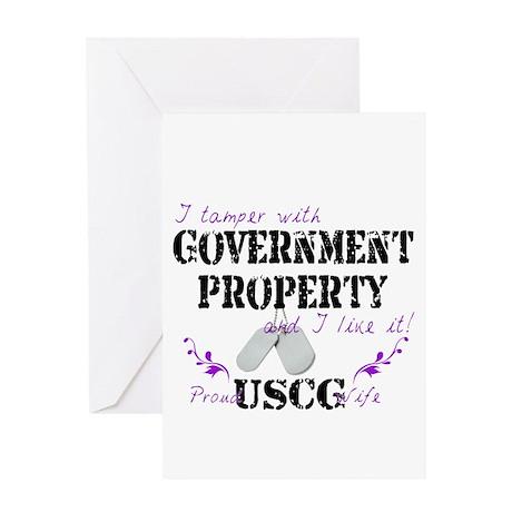Tamper w Gov Property USCG Wife Greeting Card