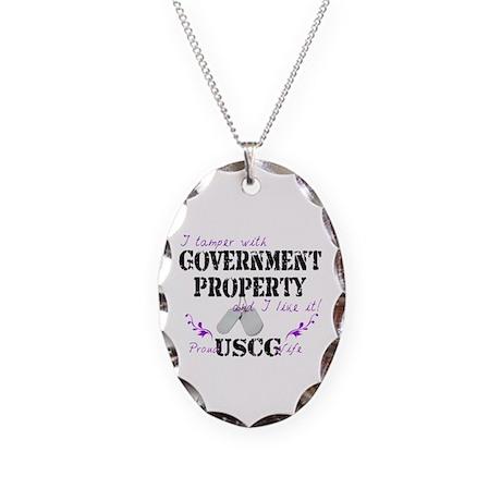 Tamper w Gov Property USCG Wife Necklace Oval Char