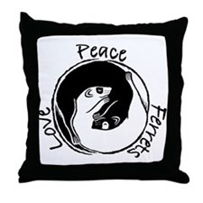 Peace, Love & Ferrets Throw Pillow