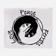 Peace, Love & Ferrets Throw Blanket