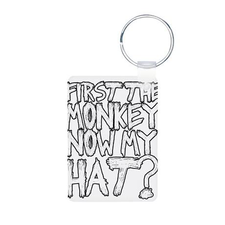 Monkey and Hat Aluminum Photo Keychain