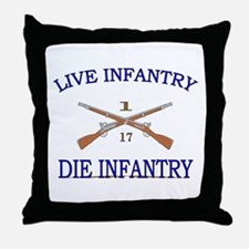 1st Bn 17th Infantry Throw Pillow