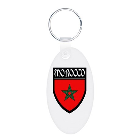 Morocco Flag Patch Aluminum Oval Keychain