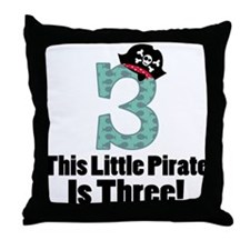 3rd Birthday Pirate Throw Pillow