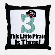 3rd Birthday Pirate Throw Pillow