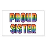 GLBT Rainbow Proud Sister Sticker (Rectangle)