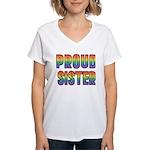 GLBT Rainbow Proud Sister Women's V-Neck T-Shirt