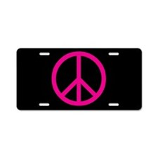 pink peace Aluminum License Plate
