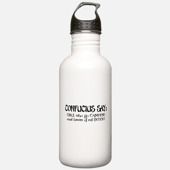 Confucius say: Girl Camping Sports Water Bottle