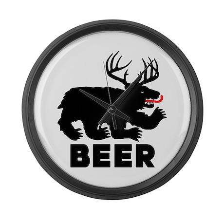 BEER - Bear/Deer Combo Large Wall Clock