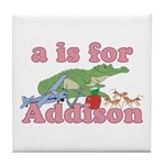 A is for Addison Tile Coaster