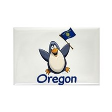 Oregon Penguin Rectangle Magnet