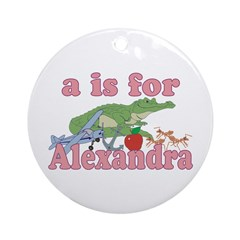 A is for Alexandra Ornament (Round)