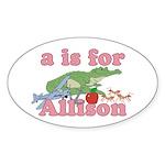 A is for Allison Sticker (Oval 10 pk)