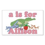A is for Allison Sticker (Rectangle 10 pk)