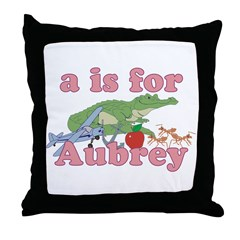 A is for Aubrey Throw Pillow