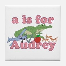 A is for Audrey Tile Coaster