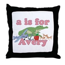 A is for Avery Throw Pillow