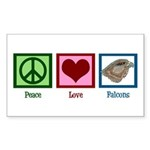 Peace Love Falcons Sticker (Rectangle)