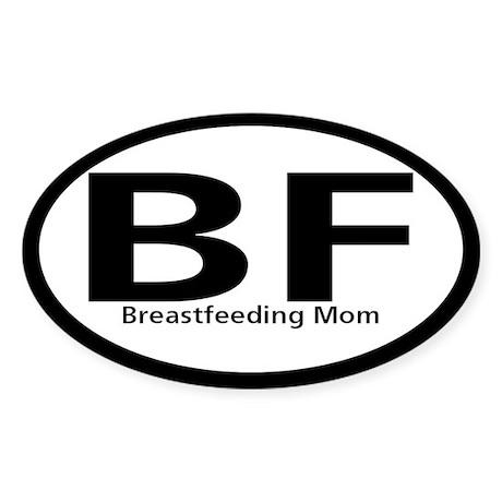 Breastfeeding Mom Black Oval Oval Sticker
