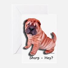 Chinese Shar-pei Puppy Sharp Hey? Greeting Cards (