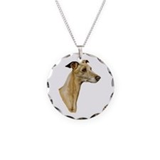 Whippet Necklace Circle Charm