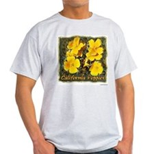 """Arty"" Calif. Poppies t-shirt--ash grey"