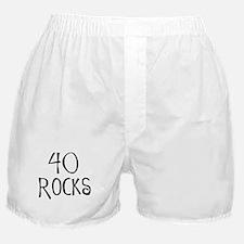 40th birthday saying, 40 rocks! Boxer Shorts