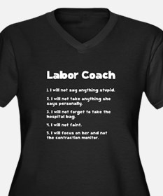 Labor Coach Women's Plus Size V-Neck Dark T-Shirt