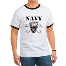 Navy Skull and Cross Bones T
