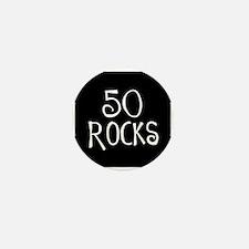 50th birthday saying, 50 rocks! Mini Button (10 pa