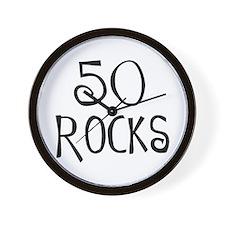 50th birthday saying, 50 rocks! Wall Clock