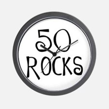 50th birthday saying, 50 rocks! Wall Clock