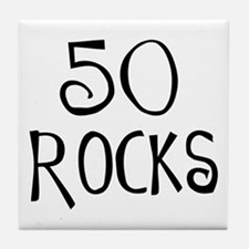 50th birthday saying, 50 rocks! Tile Coaster
