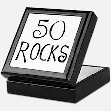 50th birthday saying, 50 rocks! Keepsake Box