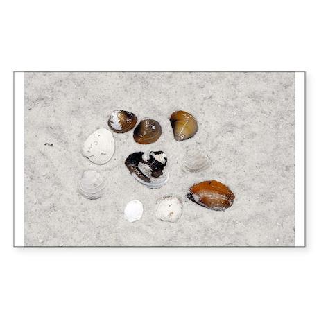 Seashells and Sand Sticker (Rectangle)