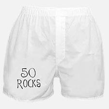 50th birthday saying, 50 rocks! Boxer Shorts