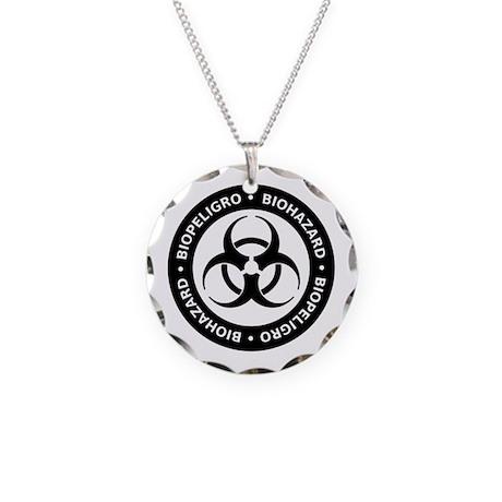 B & W Bilingual Biohazard Necklace Circle Charm