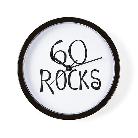 60th birthday saying, 60 rocks! Wall Clock