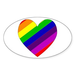 Rainbow Heart Oval Decal