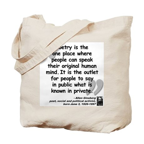 Ginsberg People Quote Tote Bag