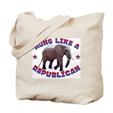 """Hung like a Republican"" Tote Bag"