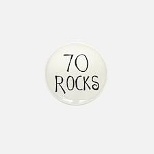 70th birthday saying, 70 rocks! Mini Button (100 p