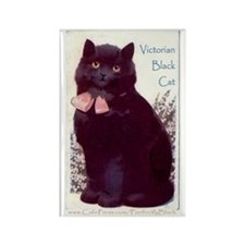 Victorian Black Cat Rectangle Magnet