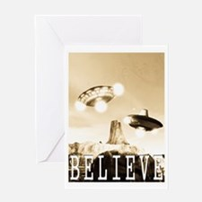 CE3K UFOs V2 BELIEVE Greeting Card