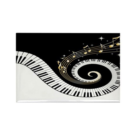 Mixed Musical Notes (black go Rectangle Magnet