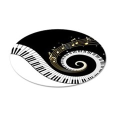Mixed Musical Notes (black go 22x14 Oval Wall Peel