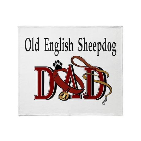 Old English Sheepdog Dad Throw Blanket